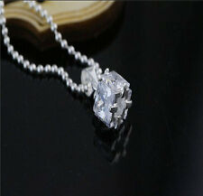 Wholesale 925 Sterling Silver inlay Crystal Square Pendants Necklaces