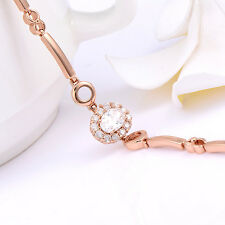 Womens Elegant Rose Gold Filled Crystal Chain Link Bracelet Korean Jewelry