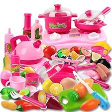 42 Piece Kitchen Cooking Set Girls Boys Fruit Vegetable Tea Playset Toy for Kids