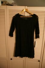 New Black Botanical Lace Shift Dress by Lapis Size M
