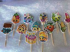 Shopkins Pastel Picks/Banderas Fiesta Cupcake Decoraciones X 12