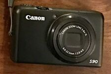 Canon PowerShot S90 10.0 MP Digital Camera - Black VGC Bundled 2 Batteries Case