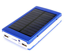 Portable Dual USB Solar Battery Charger Power Bank For Cell Phone 20W blue