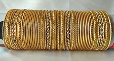 Indian Bollywood Ethnic 48pcs Golden Colored  Bridal Bangles Set Jewelry 2.8.