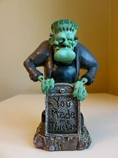 Frankenstein Figurine Statue With Graveyard Tombstone Resin New WARREN STRATFORD