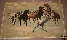 "1960s Belgian Tapestry Wild Horses Wall-Hanging W125cm/50"" Mustangs Brown/Green"