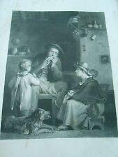 Gravure 1863 La Lecon de Musique d'après tableau de Wilkie