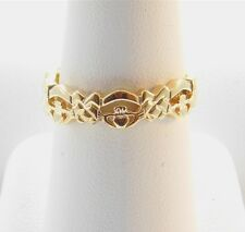14K Solid Yellow Gold Ireland Import Claddagh Celtic Knots Band Ring DA0146