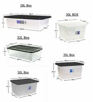 Strong Plastic Storage Boxes With Lids Stackable Underbed Home Office Toys File