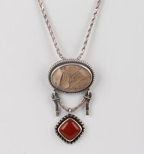 STERLING SILVER BA INDONESIA AGATE & RED CORAL STONE BROOCH/NECKLACE 925 5991