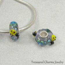 Ladybug Flowers Lampwork Glass Large Hole Bead Charm fits European Bracelets