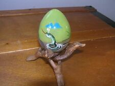 Vintage Hollow Blown Glass Egg with Painted Cobra Snake on Inside w Wood Stand
