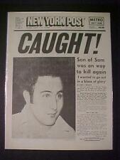 VINTAGE NEWSPAPER HEADLINE~CRIME SERIAL KILLER NY MURDERER BERKOWITS SON OF SAM~