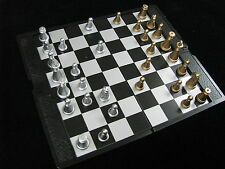 Chess, 8-inch foldable magnetic mini board, golden and silver chess pieces
