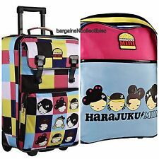 "NEW HTF HARAJUKU MINI LOVER 21"" ROLLING LUGGAGE SUITCASE & TRAVEL BAG 2 PC SET"