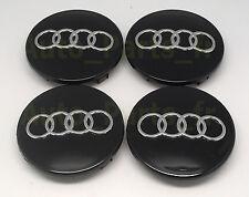 4 Cache Jante moyeux Noir - Enjoliveur Centre de roue Audi (8D0 601 170) 68mm