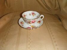 new chelsea staffs england tea cup and saucer  roses gold trim