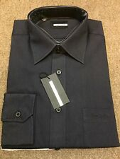 """Pierre Cardin Poly/Cotton Self Coloured Fornal Shirt/Black - 16.5"""""""