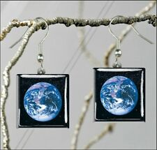 EARTH OUR BLUE PLANET SQUARE GLASS CABOCHON EARRINGS -gv5y