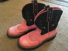 WOMENS ARIAT FATBABY PINK/BLACK WESTERN COWBOY BOOTS (8.5B)...GOOD CONDITION!