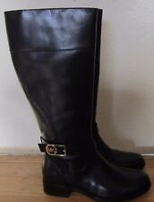 MICHAEL KORS Black Leather Tall BRYCE Riding Knee Zip Boots NEW Size 7 $295