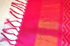 100% SILK IKAT South India Saree Sari Blouse Fuschia Pink Gold WhiteDesigner NEW