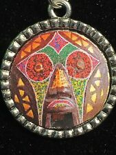 "African Colorful Mask Charm Tibetan Silver with 18"" Necklace"