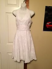 White House Black Market White dress embroided size 0 sash  sexy sundress