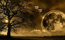 A3 Poster - Giant Moon Hot Air Balloon Trees in Brown & Black (Picture Planets)