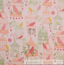 BonEful Fabric FQ Cotton Quilt Pink Orange Flower Rose BIRD CAGE Heart Baby Girl