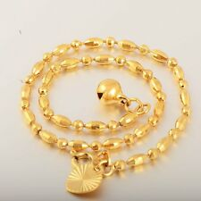 foot jewelry 14k Yellow Gold Filled Womens Bead heart Bell ankle bracelet 10""