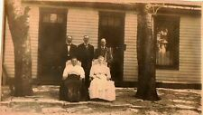 Old Antique Vintage Photograph Woman In Chairs Men Behind Front of House