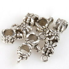 500x New Silver Blackened Flower European Beads 8A054