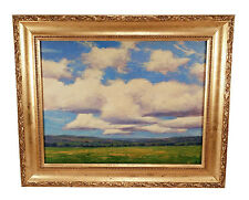 FRAMED CALIFORNIA LANDSCAPE POPPIES PLEIN AIR OIL PAINTING DRAMATIC CLOUDS SKY