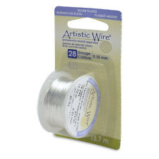 Artistic Wire Tarnish Resistant Silver 28ga 43134 Dispenser Round Shiny 28 Guage