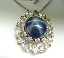 LARGE GENUINE STAR SAPPHIRE 8.35 CTS  SAPPHIRES  .925 STERLING PENDANT w/ CHAIN