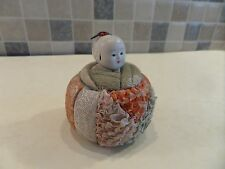 VINTAGE JAPANESE KIMEKOMI DOLL IZUMEKO BABY IN A BASKET- HANDPAINTED GOFUN HEAD