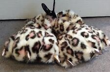 NEXT - LEOPARD FURRY SLIPPERS WITH CLAW NAILS IN FRONT! - UK 11- BNWT