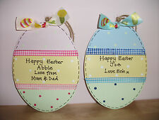 Personalised EASTER Egg Shaped Sign ~ CHOOSE MESSAGE ~ Keepsake Gift Present