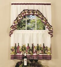 "CHARDONNAY-COMPLETE TIER & SWAG SET 36"" L, KITCHEN CURTAIN,WINE BOTTLES & GRAPES"