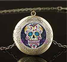 Vintage Black Sugar Skull Photo Glass Brass Chain Locket Pendant Necklace#AF22