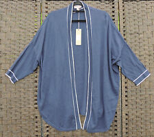 SUSSAN Navy Blue Nautical Short Sleeve Cardy Cardigan XL 16 18 BNWT $69.95