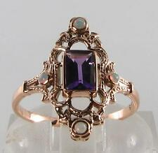 DIVINE 9CT 9K ROSE GOLD ZAMBIAN AMETHYST & OPAL LONG FINGER RING FREE RESIZE
