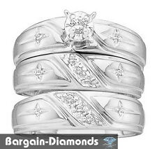 diamond 3 ring .20 carat wedding band set Cross Christian 925 Bridal Groom polis