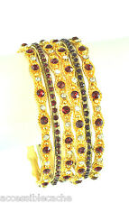 Chamak Sparkle Red & Clear Crystals Set of 6 Mixed Gold tone Bangle Bracelets