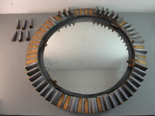 ANTIQUE WOOD INDUSTRIAL STEAMPUNK MILL CROWN GEAR FRAME WALL CONVEX MIRROR 24""