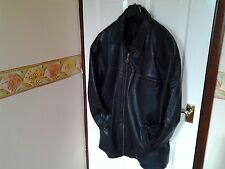 MENS BURTON BLACK RYDER STYLE REAL LEATHER JACKET SIZE LARGE