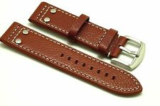 22mm Brown Rivet Style Buffalo-Grain Leather Watch Strap Made For Fossil 22