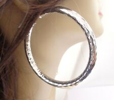 LARGE 3 INCH HOOP EARRINGS PIPE HOOP EARRINGS SILVER RHODIUM THICK  HOOPS