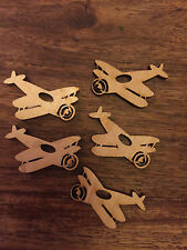 5 x Wooden Mini AEROPLANE EMBELLISHMENT Craft Card Scrapbook Art sd291